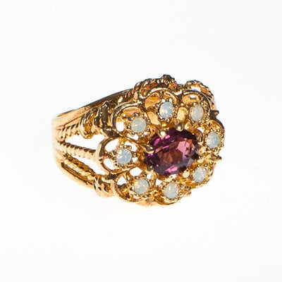 Amethyst and Opaline Crystal Statement Ring by 1980s - Vintage Meet Modern Vintage Jewelry - Chicago, Illinois - #oldhollywoodglamour #vintagemeetmodern #designervintage #jewelrybox #antiquejewelry #vintagejewelry