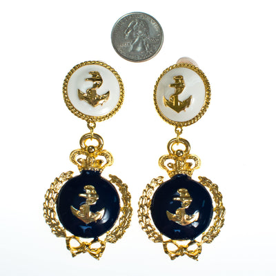 Vintage Navy Blue and Cream Anchor Statement Earrings