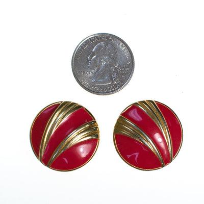 Vintage Red Enamel and Gold Swirl Button Style Earrings by 1980s - Vintage Meet Modern Vintage Jewelry - Chicago, Illinois - #oldhollywoodglamour #vintagemeetmodern #designervintage #jewelrybox #antiquejewelry #vintagejewelry