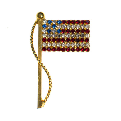 Vintage Red White and Blue Rhinestone American Flag Pin