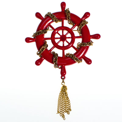 Vintage Red Captain's Wheel Brooch With Gold Tassel