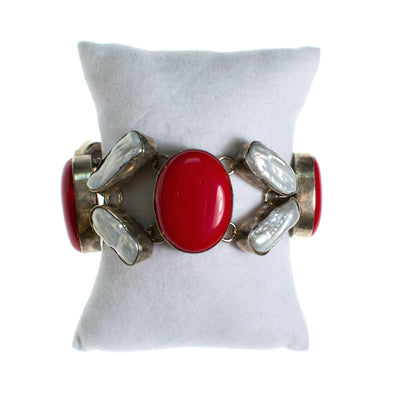 Vintage Red Coral and Biwa Pearl Bracelet by One of Kind - Vintage Meet Modern Vintage Jewelry - Chicago, Illinois - #oldhollywoodglamour #vintagemeetmodern #designervintage #jewelrybox #antiquejewelry #vintagejewelry