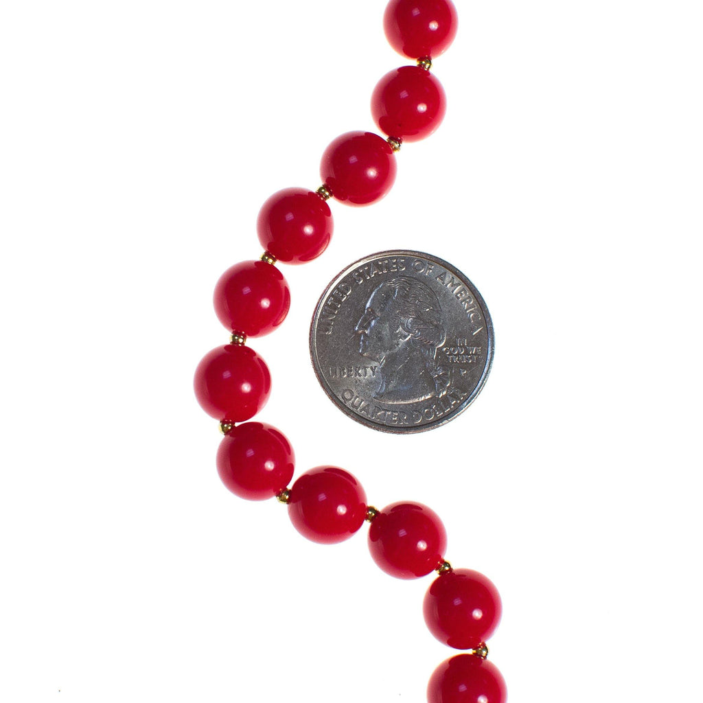 Vintage 1950s Red Bead Necklace