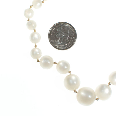 Vintage 1950s White Moonglow Bubble Bead Necklace