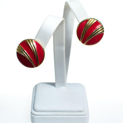 Vintage Red Enamel and Gold Swirl Button Style Earrings