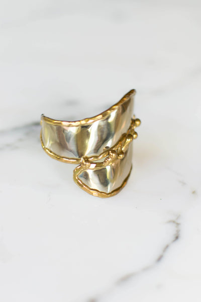 One of a Kind Wide Silver and Gold Brutalist Cuff Bracelet, Handmade by unsigned - Vintage Meet Modern - Chicago, Illinois