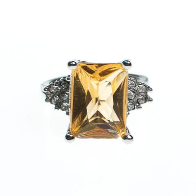 Vintage Yellow Citrine Emerald Cut Cocktail Ring with Diamante Accents