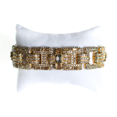 Ciner No Escape Bracelet with Black Diamond, Crystal Velvet, and Colorado Topaz Rhinestones in Gold by Ciner - Vintage Meet Modern Vintage Jewelry - Chicago, Illinois - #oldhollywoodglamour #vintagemeetmodern #designervintage #jewelrybox #antiquejewelry #vintagejewelry