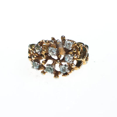 Vintage Brutalist Modern Gold Ring with Crystals by Vintage Meet Modern  - Vintage Meet Modern - Chicago, Illinois