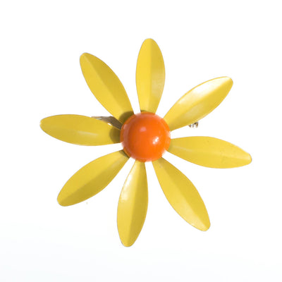 Vintage Retro Mod Flower Power Yellow and Orange Enamel Brooch by 1950s - Vintage Meet Modern Vintage Jewelry - Chicago, Illinois - #oldhollywoodglamour #vintagemeetmodern #designervintage #jewelrybox #antiquejewelry #vintagejewelry