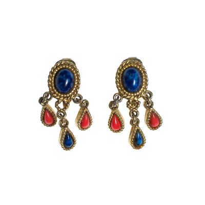 Capri Lapis and Coral Earring and  Brooch Set by Capri - Vintage Meet Modern - Chicago, Illinois