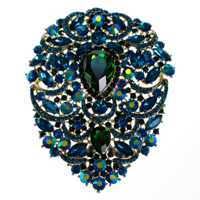 Massive Blue and Emerald Green Rhinestone Brooch by Vintage Meet Modern  - Vintage Meet Modern - Chicago, Illinois