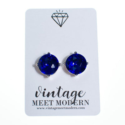 Blue Crystal Candy Stud Earrings, Earrings - Vintage Meet Modern