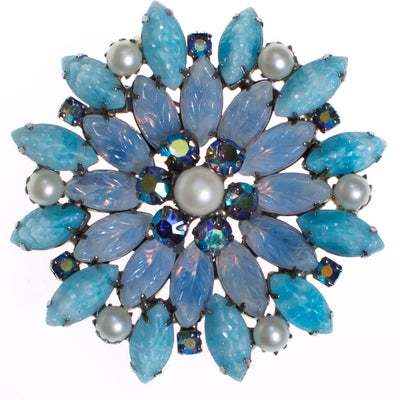 Blue Rhinestone and Pressed Glass Brooch by 1950S - Vintage Meet Modern Vintage Jewelry - Chicago, Illinois - #oldhollywoodglamour #vintagemeetmodern #designervintage #jewelrybox #antiquejewelry #vintagejewelry