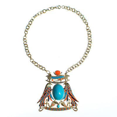 Vintage Accessocraft Turquoise Scarab Necklace
