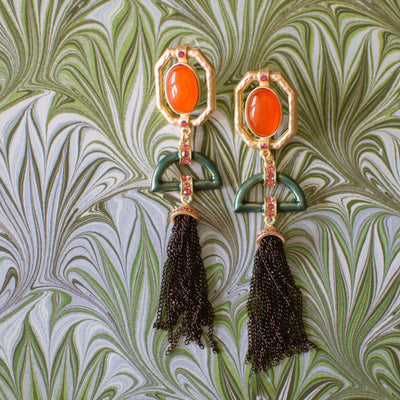 Coral Cabochon and Jade Enamel Tassel Earrings by Vintage Meet Modern  - Vintage Meet Modern Vintage Jewelry - Chicago, Illinois - #oldhollywoodglamour #vintagemeetmodern #designervintage #jewelrybox #antiquejewelry #vintagejewelry