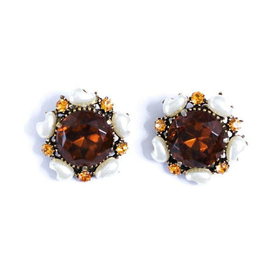 Vintage Florenza Amber Smokey Crystal with Faux Pearl Statement Earrings by Florenza - Vintage Meet Modern Vintage Jewelry - Chicago, Illinois - #oldhollywoodglamour #vintagemeetmodern #designervintage #jewelrybox #antiquejewelry #vintagejewelry