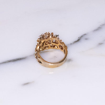 Vintage Brutalist Modern Gold Ring with Crystals by Vintage Meet Modern  - Vintage Meet Modern Vintage Jewelry - Chicago, Illinois - #oldhollywoodglamour #vintagemeetmodern #designervintage #jewelrybox #antiquejewelry #vintagejewelry