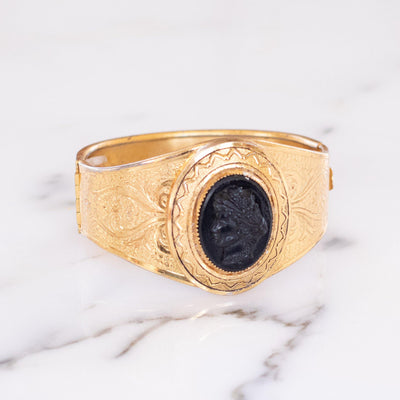 Vintage Czech Gold Tone Embossed Cuff Bracelet with Black Lucite Cameo by Vintage Meet Modern  - Vintage Meet Modern - Chicago, Illinois