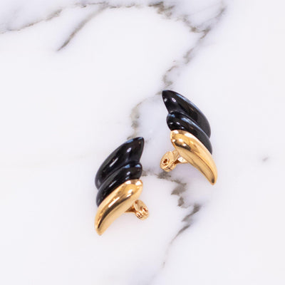 Monet Retro Black and Gold Modernist Style Earrings by Vintage Meet Modern  - Vintage Meet Modern Vintage Jewelry - Chicago, Illinois - #oldhollywoodglamour #vintagemeetmodern #designervintage #jewelrybox #antiquejewelry #vintagejewelry