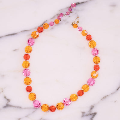 Vintage Marvella Orange and Pink Faceted Crystal Bead Necklace  Colorful Multi-Gemstone Beaded Necklace by Marvella - Vintage Meet Modern Vintage Jewelry - Chicago, Illinois - #oldhollywoodglamour #vintagemeetmodern #designervintage #jewelrybox #antiquejewelry #vintagejewelry