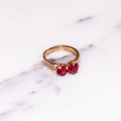 Garnet Crystal Double Heart Band Ring by Vintage Meet Modern  - Vintage Meet Modern Vintage Jewelry - Chicago, Illinois - #oldhollywoodglamour #vintagemeetmodern #designervintage #jewelrybox #antiquejewelry #vintagejewelry