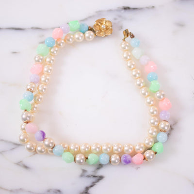 Vintage Faux Pearl and Green, Pink, Purple, Blue Bead Double Strand Necklace by Unsigned Beauty - Vintage Meet Modern Vintage Jewelry - Chicago, Illinois - #oldhollywoodglamour #vintagemeetmodern #designervintage #jewelrybox #antiquejewelry #vintagejewelry