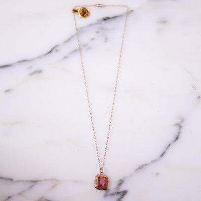 Vintage Art Deco Pink Crystal Gold Filled Necklace by 1/20 12kt Gold Filled - Vintage Meet Modern Vintage Jewelry - Chicago, Illinois - #oldhollywoodglamour #vintagemeetmodern #designervintage #jewelrybox #antiquejewelry #vintagejewelry