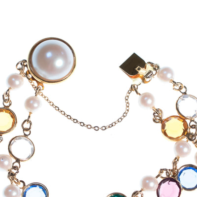 Vintage Colorful Crystal Bezel and Faux Pearl Double Strand Bracelet by Vintage Meet Modern  - Vintage Meet Modern - Chicago, Illinois