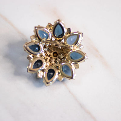 Vintage Blue Rhinestone Medallion Brooch with Gold Accents by Unsigned Beauty - Vintage Meet Modern Vintage Jewelry - Chicago, Illinois - #oldhollywoodglamour #vintagemeetmodern #designervintage #jewelrybox #antiquejewelry #vintagejewelry