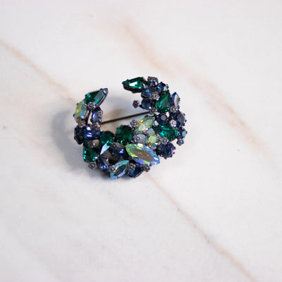 Vintage Vintage Blue and Green Aurora Borealis with Silver Flower Brooch by Made in Austria - Vintage Meet Modern Vintage Jewelry - Chicago, Illinois - #oldhollywoodglamour #vintagemeetmodern #designervintage #jewelrybox #antiquejewelry #vintagejewelry