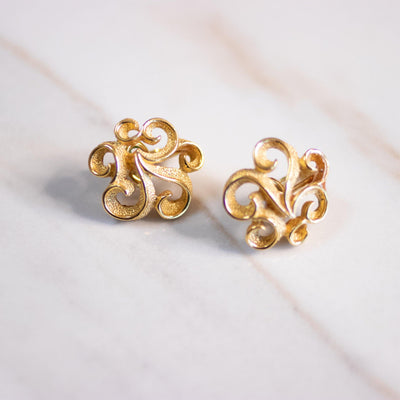Vintage Crown Trifari Gold Scroll Statement Earrings by Crown Trifari - Vintage Meet Modern Vintage Jewelry - Chicago, Illinois - #oldhollywoodglamour #vintagemeetmodern #designervintage #jewelrybox #antiquejewelry #vintagejewelry