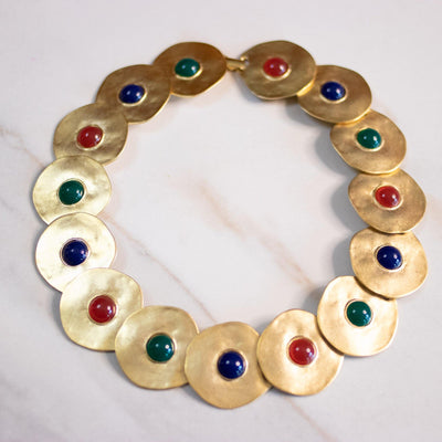 Vintage Gold Disc Statement Necklace with Lapis, Jade, Carnelian Cabochons by Unsigned Beauty - Vintage Meet Modern Vintage Jewelry - Chicago, Illinois - #oldhollywoodglamour #vintagemeetmodern #designervintage #jewelrybox #antiquejewelry #vintagejewelry