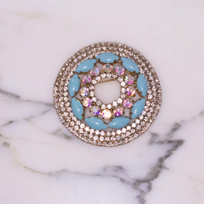 Vintage Monet Round Medallion Brooch with Turquoise Glass Cabochons and Aurora Borealis Rhinestones by Monet - Vintage Meet Modern - Chicago, Illinois