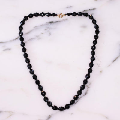 Vintage Faceted Jet Black Crystal Necklace by Vintage Meet Modern  - Vintage Meet Modern Vintage Jewelry - Chicago, Illinois - #oldhollywoodglamour #vintagemeetmodern #designervintage #jewelrybox #antiquejewelry #vintagejewelry