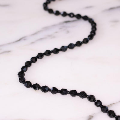 Vintage Faceted Jet Bead Necklace by Unsigned Beauty - Vintage Meet Modern Vintage Jewelry - Chicago, Illinois - #oldhollywoodglamour #vintagemeetmodern #designervintage #jewelrybox #antiquejewelry #vintagejewelry