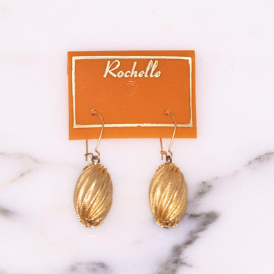 Rochelle Gold Fluted Bead Drop Earrings by Rochelle - Vintage Meet Modern Vintage Jewelry - Chicago, Illinois - #oldhollywoodglamour #vintagemeetmodern #designervintage #jewelrybox #antiquejewelry #vintagejewelry