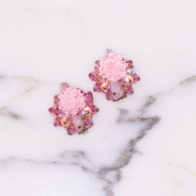 Vintage Regency Pink Crystal Cluster Earrings by Regency - Vintage Meet Modern - Chicago, Illinois