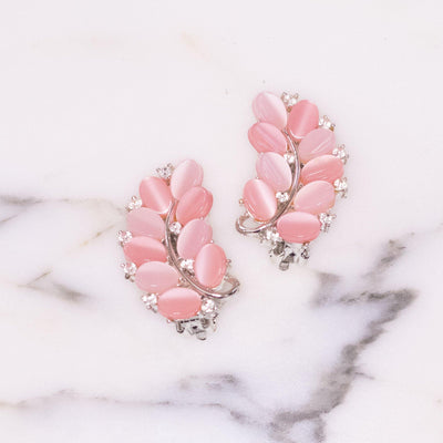 Vintage Lisner Pink Moonglow and Rhinestone Earrings by Lisner - Vintage Meet Modern - Chicago, Illinois