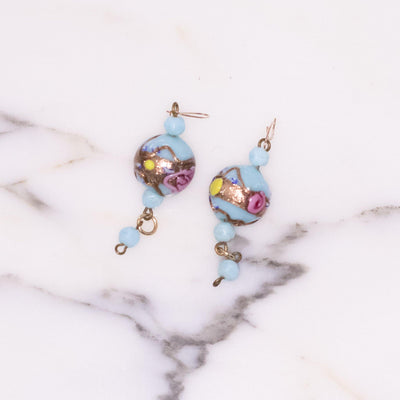 Vintage Turquoise Venetian Wedding Cake Bead Earrings by Made in Italy - Vintage Meet Modern Vintage Jewelry - Chicago, Illinois - #oldhollywoodglamour #vintagemeetmodern #designervintage #jewelrybox #antiquejewelry #vintagejewelry