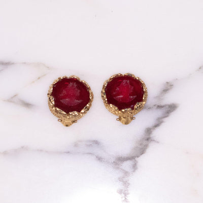 Vintage Red Intaglio Cameo Earrings by Unsigned Beauty - Vintage Meet Modern - Chicago, Illinois