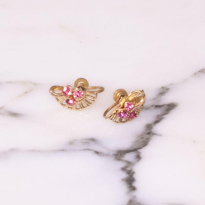 Vintage Pink and Diamante Gold Filled Earrings by Gold Filled - Vintage Meet Modern Vintage Jewelry - Chicago, Illinois - #oldhollywoodglamour #vintagemeetmodern #designervintage #jewelrybox #antiquejewelry #vintagejewelry