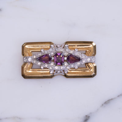 Vintage McClelland Barclay Brooch with Amethyst Crystal and Diamante Rhinestones by McClelland and Barclay - Vintage Meet Modern - Chicago, Illinois