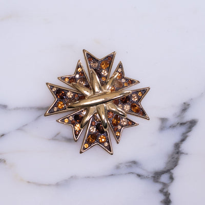 Vintage Kenneth Jay Lane Bejeweled Maltese Cross Brooch with Gunmetal, Amber, and Champagne Rhinestones by Kenneth Jay Lane - Vintage Meet Modern Vintage Jewelry - Chicago, Illinois - #oldhollywoodglamour #vintagemeetmodern #designervintage #jewelrybox #antiquejewelry #vintagejewelry