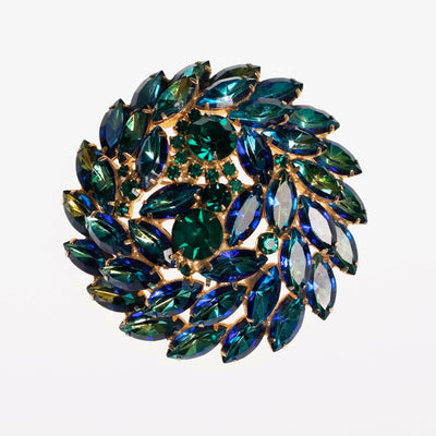 Vintage Juliana Huge Blue Green Rhinestone Medallion Brooch by Juliana - Vintage Meet Modern Vintage Jewelry - Chicago, Illinois - #oldhollywoodglamour #vintagemeetmodern #designervintage #jewelrybox #antiquejewelry #vintagejewelry