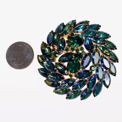 Vintage Juliana Huge Blue Green Rhinestone Medallion Brooch by Juliana - Vintage Meet Modern - Chicago, Illinois