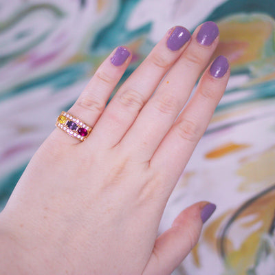 Vintage 1980s Gold Band Ring with Pink, Amethyst, and Yellow CZs by Vintage Meet Modern  - Vintage Meet Modern - Chicago, Illinois