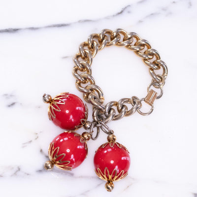 Vintage Cherry Red Oversized Bauble Bead Charm Bracelet by Vintage Meet Modern  - Vintage Meet Modern - Chicago, Illinois