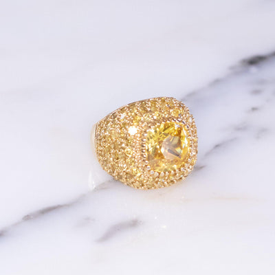 Vintage Yellow CZ Statement Ring by Vintage Meet Modern  - Vintage Meet Modern - Chicago, Illinois