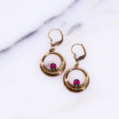 Vintage Rolled Gold Doorknocker Earrings with Ruby Crystal by Vintage Meet Modern  - Vintage Meet Modern - Chicago, Illinois